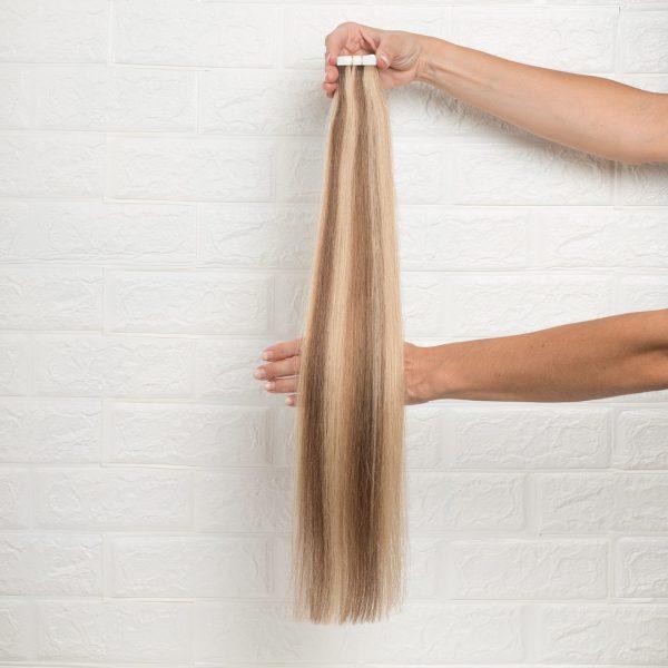 Hair Extensions Tape Ίσια 60 εκατοστά Δίχρωμο Καστανό Ξανθό