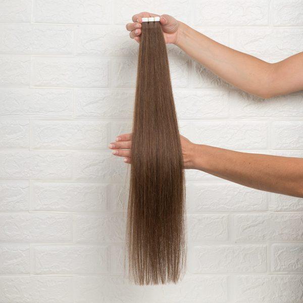Hair Extensions Tape Ίσια 60 εκατοστά Καστανό Ζεστό