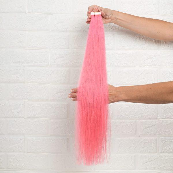 Hair Extensions Tape Ίσια 60 εκατοστά Ροζ