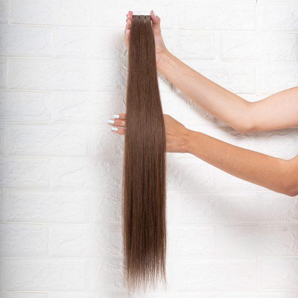 Hair Extensions Tape Ίσια 63 εκατοστά Καστανό Ανοιχτό