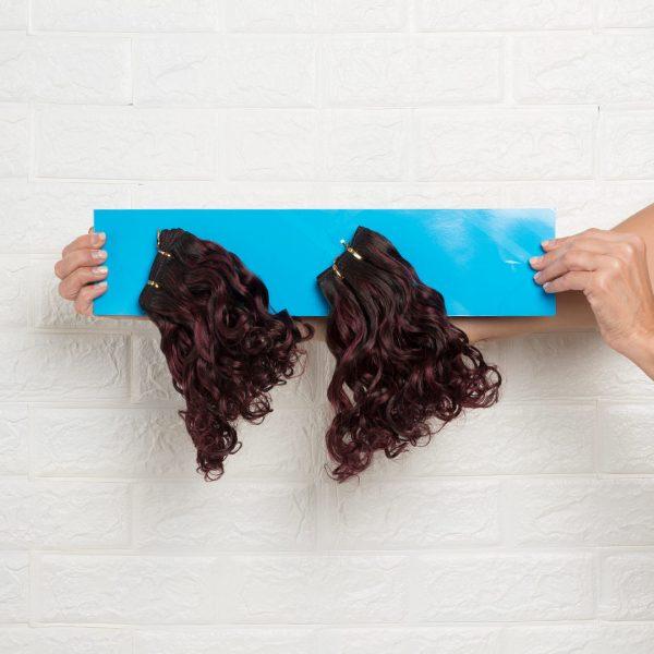 Τρέσα Φυσική Σγουρή Regular 30 εκατοστά Δίχρωμο Μαύρο Κόκκινο Βουργουνδίας