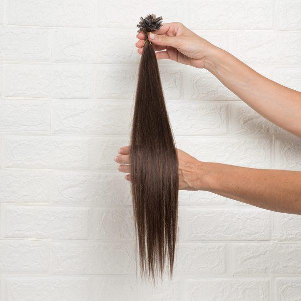 Hair Extensions U-Tip Ίσια 50 εκατοστά Καστανό Φυσικό Σκούρο