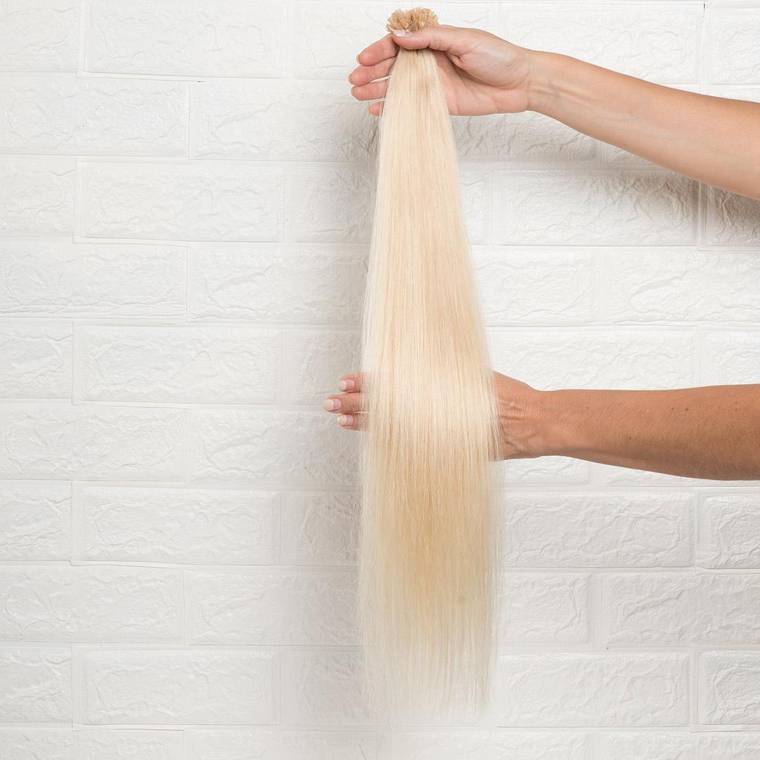 Hair Extensions U-Tip Ίσια 60 εκατοστά Ξανθό Ανοιχτό Ψυχρό